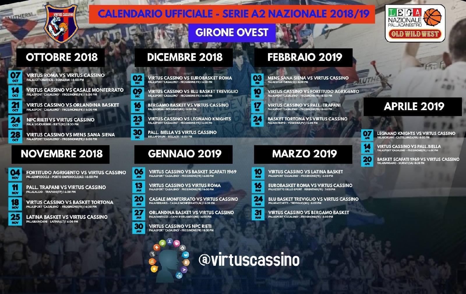 Virtus Roma Calendario.Virtus Cassino Esordio Al Palalottomatica Di Roma